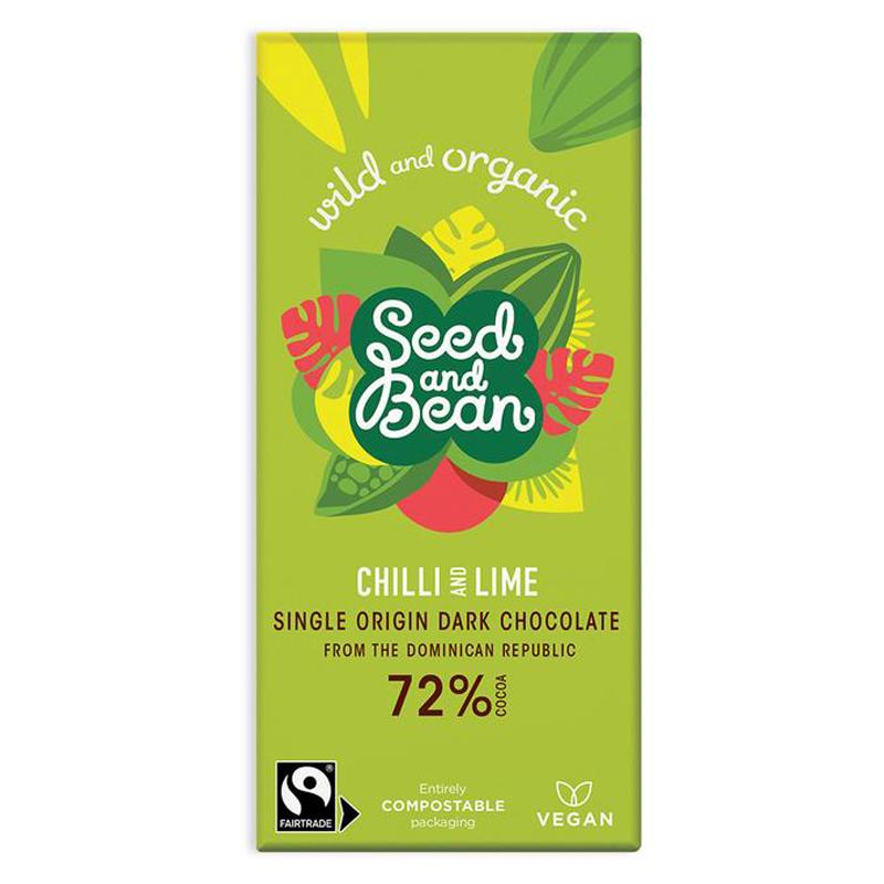 BIO hořká čokoláda s čili a limetkou Seed&Bean 85g