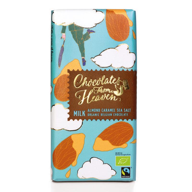 BIO mléčná čokoláda s karamel. mandlemi a mořskou solí 39% 100g